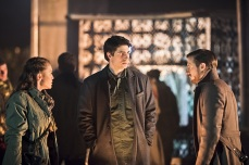 "DC's Legends of Tomorrow -- ""Leviathan""-- Image LGN113a_0147b.jpg -- Pictured (L-R): Sharon Taylor as Rebel Leader, Brandon Routh as Ray Palmer/Atom and Arthur Darvill as Rip Hunter -- Photo: Dean Buscher/The CW -- © 2016 The CW Network, LLC. All Rights Reserved."