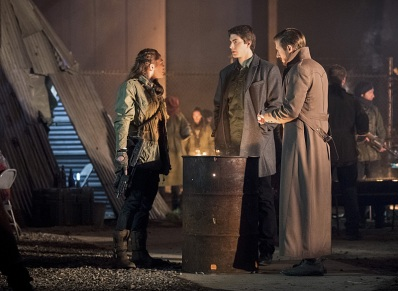 "DC's Legends of Tomorrow -- ""Leviathan""-- Image LGN113a_0165b.jpg -- Pictured (L-R): Sharon Taylor as Rebel Leader, Brandon Routh as Ray Palmer/Atom and Arthur Darvill as Rip Hunter -- Photo: Dean Buscher/The CW -- © 2016 The CW Network, LLC. All Rights Reserved."