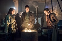 "DC's Legends of Tomorrow -- ""Leviathan""-- Image LGN113a_0228b.jpg -- Pictured (L-R): Sharon Taylor as Rebel Leader, Brandon Routh as Ray Palmer/Atom and Arthur Darvill as Rip Hunter -- Photo: Dean Buscher/The CW -- © 2016 The CW Network, LLC. All Rights Reserved."