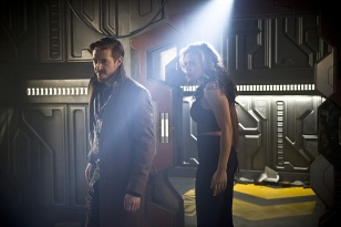 "DC's Legends of Tomorrow --""River of Time""-- Image LGN114b_0308b.jpg -- Pictured (L-R): Arthur Darvill as Rip Hunter and Ciara Renee as Kendra Saunders/Hawkgirl -- Photo: Diyah Pera/The CW -- © 2016 The CW Network, LLC. All Rights Reserved."