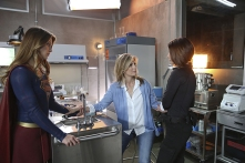"""""""Better Angels"""" -- Supergirl is forced to do battle with an unexpected foe and must risk everything -- including her life -- to prevent Non and Indigo from destroying every person on the planet, on the first season finale of SUPERGIRL, Monday, April 18 (8:00-9:00 PM, ET/PT) on the CBS Television Network. Pictured left to right: Melissa Benoist, Helen Slater and Chyler Leigh Photo: Cliff Lipson/CBS ©2016 CBS Broadcasting, Inc. All Rights Reserved"""