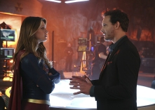 """""""Better Angels"""" -- Supergirl (Melissa Benoist, left) is forced to do battle with an unexpected foe and must risk everything -- including her life -- to prevent Non and Indigo from destroying every person on the planet, on the first season finale of SUPERGIRL, Monday, April 18 (8:00-9:00 PM, ET/PT) on the CBS Television Network. Also pictured: Peter Facinelli (right) Photo: Cliff Lipson/CBS ©2016 CBS Broadcasting, Inc. All Rights Reserved"""