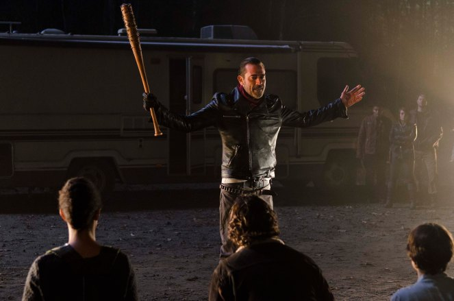 Lauren Cohan as Maggie Greene; Andrew Lincoln as Rick Grimes; Sonequa Martin-Green as Sasha; Jeffrey Dean Morgan as Negan - The Walking Dead _ Season 6, Episode 16 - Photo Credit: Gene Page/AMC