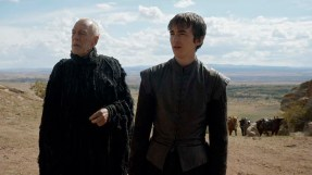 Max von Sydow as the Three-Eyed Raven and Isaac Hempstead Wright as Bran Stark. Photo: HBO
