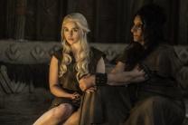 Emilia Clarke as Daenerys Targaryen and Souad Faress as Dosh Khaleen Priestess Credit: Helen Sloan/HBO