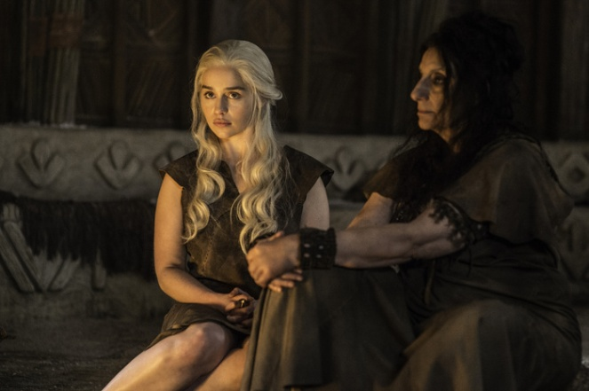 Emilia Clarke as Daenerys Targaryen and Souad Faress as Dosh Khaleen Priestess Credit: Helen Sloan/HBO
