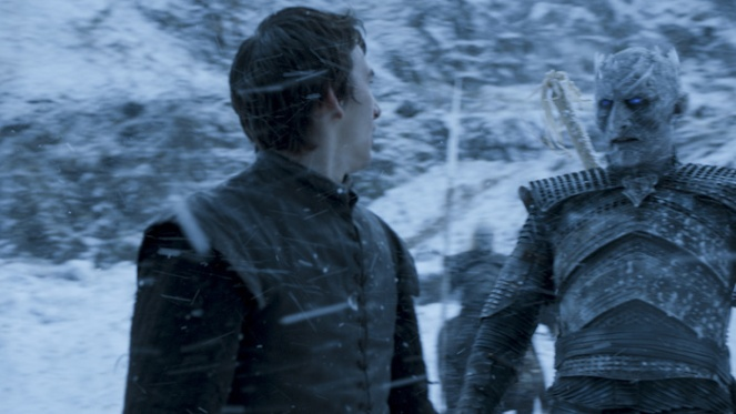 Isaac Hempstead Wright as Bran Stark and Vladimir Furdik as The Night King. Credit: Courtesy HBO