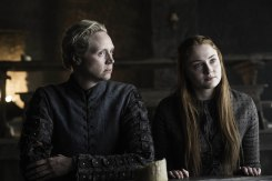 Gwendoline Christie as Brienne of Tarth and Sophie Turner as Sansa Stark. Credit: Helen Sloan/HBO