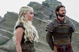 milia Clarke as Daenerys Targaryen and Michiel Huisman as Daario Naharis. Credit: Macall B. Polay/HBO