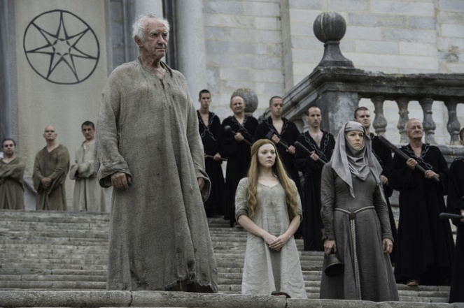 Jonathan Pryce as The High Sparrow, Natalie Dormer as Margaery Tyrell and Hannah Waddingham as Septa Unella. Credit: Macall B. Polay/HBO