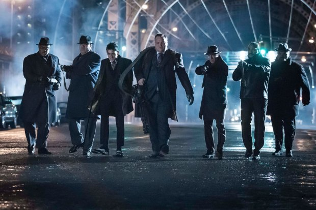 """GOTHAM: L- R: (Third from left) Robin Lord Taylor and Drew Powell in the """"Wrath of the Villains: Transference"""" season finale episode of GOTHAM airing Monday, May 23 (8:00-9:00 PM ET/PT) on FOX. ©2016 Fox Broadcasting Co. Cr: Jeff Neumann/FOX"""