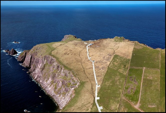 WORLD EXCLUSIVE.................... The makeshift track leading to the almost completed fim set of an ancient Jedi Temple under construction at Ceann Sibeal in Kerry for the making of Star Wars Episode VIII. NO BYLINE PLEASE 30/APRIL/2016.