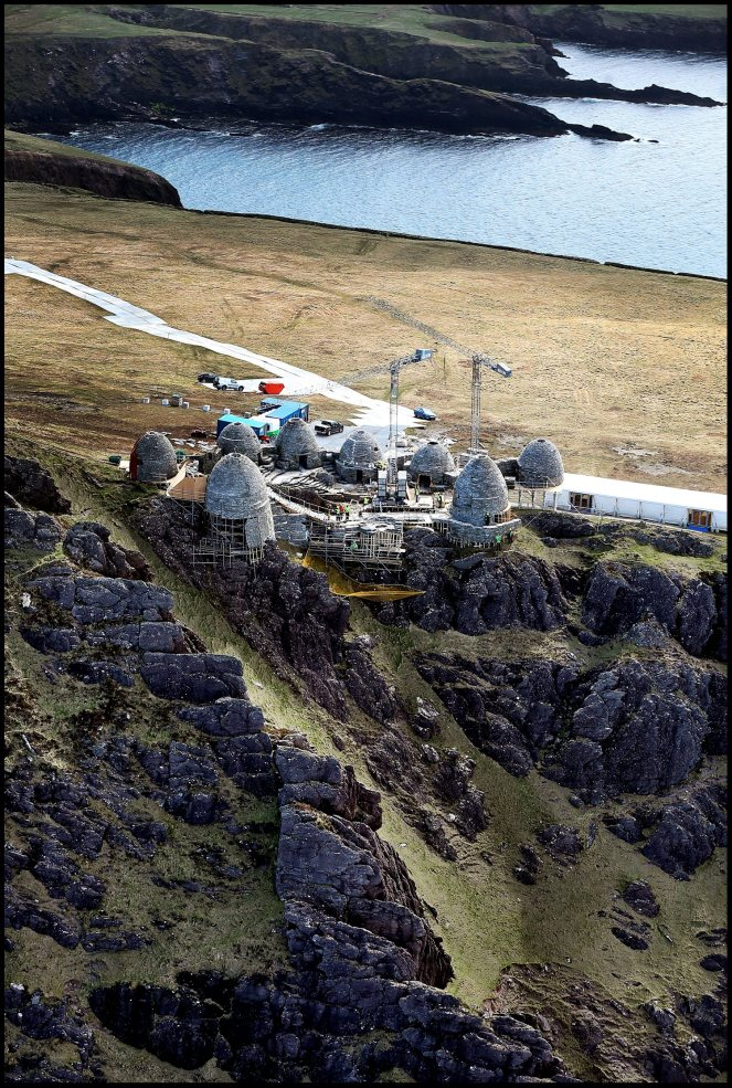 WORLD EXCLUSIVE.................... The almost completed fim set of an ancient Jedi Temple under construction at Ceann Sibeal in Kerry for the making of Star Wars Episode VIII. NO BYLINE PLEASE 30/APRIL/2016.