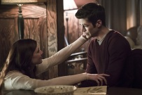"""The Flash -- """" The Runaway Dinosaur"""" -- Image: FLA221a_0172b.jpg -- Pictured (L-R): Michelle Harrison as Nora Allen and Grant Gustin as Barry Allen -- Photo: Katie Yu/The CW -- © 2016 The CW Network, LLC. All rights reserved."""