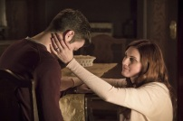 """The Flash -- """" The Runaway Dinosaur"""" -- Image: FLA221a_0241b.jpg -- Pictured (L-R): Grant Gustin as Barry Allen and Michelle Harrison as Nora Allen -- Photo: Katie Yu/The CW -- © 2016 The CW Network, LLC. All rights reserved."""