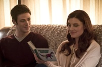"""The Flash -- """" The Runaway Dinosaur"""" -- Image: FLA221a_0255b.jpg -- Pictured (L-R): Grant Gustin as Barry Allen and Michelle Harrison as Nora Allen -- Photo: Katie Yu/The CW -- © 2016 The CW Network, LLC. All rights reserved."""