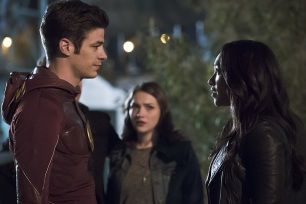 "The Flash -- ""The Race of His Life"" -- Image: FLA223b_0101b.jpg -- Pictured (L-R): Grant Gustin as Barry Allen, Violett Beane as Jesse Quick and Candice Patton as Iris West -- Photo: Katie Yu/The CW -- © 2016 The CW Network, LLC. All rights reserved."