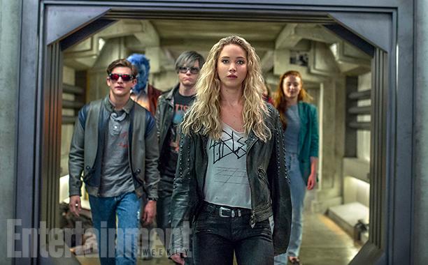 X-Men: Apocalypse (2016) L to R: Tye Sheridan, Kodi Smit-McPhee, Evan Peters, Jennifer Lawrence and Sophie Turner