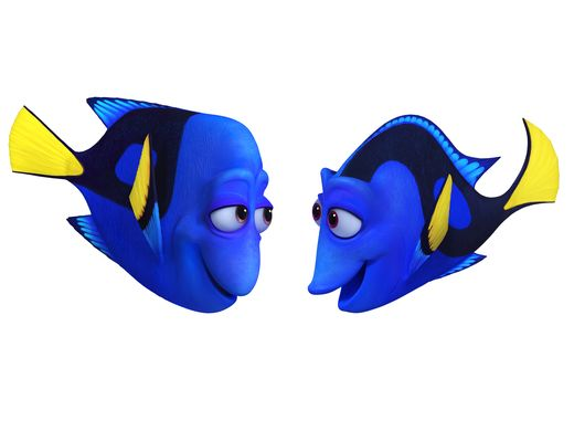 (L-R): CHARLIE (voice of Eugene Levy) and JENNY (voice of Diane Keaton) would do anything for their only child, Dory. They celebrate and protect her, striving to arm her with the skills she'll need to navigate the world with a faulty memory. Jenny may appear cheerful and a little flighty—but she's a protective mother and a smart role model. Charlie likes to joke around, but nothing is more important to him than teaching his memory-challenged daughter how to survive.