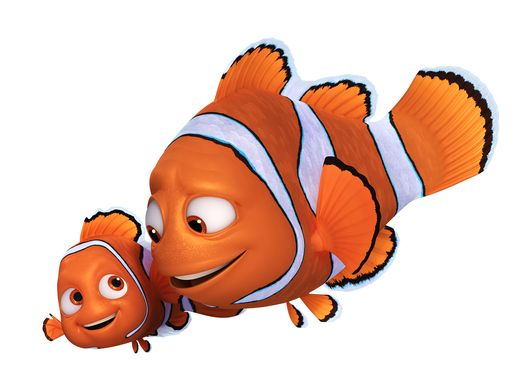 (L-R): One year after his big overseas adventure, NEMO (voice of Hayden Rolence) is back to being a normal kid: going to school and living on the coral reef with his dad and their blue tang neighbor, Dory. His harrowing adventure abroad doesn't seem to have sapped his spirit. In fact, when Dory remembers pieces of her past and longs to take off on an ambitious ocean trek to find her family, Nemo is the first to offer his help. He may be a young clownfish with a lucky fin, but Nemo wholeheartedly believes in Dory. After all, he understands what it's like to be different. MARLIN (voice of Albert Brooks) may have traveled across the ocean once, but that doesn't mean he wants to do it again. So he doesn't exactly jump at the opportunity to accompany Dory on a mission to the California coast to track down her family. Marlin, of course, knows how it feels to lose family, and it was Dory who helped him find Nemo not so long ago. The clownfish may not be funny, but he's loyal—he realizes he has no choice but to pack up his nervous energy and skepticism and embark on yet another adventure, this time to help his friend.