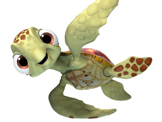 SQUIRT. CRUSH (voice of Andrew Stanton) and his SQUIRT (voice of Bennett Dammann) just might be the coolest turtles in the ocean. They're always happy to lend a flipper to a fish in need. Cruising the ocean for more than a hundred years definitely has its advantages. ©2016 Disney•Pixar.