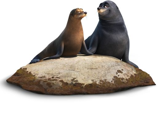 (L-R): RUDDER (voice of Dominic West) and FLUKE (voice of Idris Elba) are a pair of lazy sea lions who were rehabilitated at the Marine Life Institute. Marlin and Nemo find them snoozing on a warm—and highly coveted—rock just outside the center. These sea lions really enjoy their down time and would rather not be bothered mid nap—but their bark is far worse than their bite.