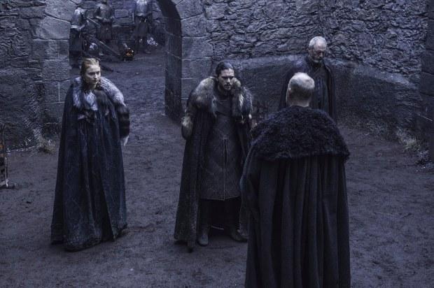 Sophie Turner as Sansa Stark, Kit Harington as Jon Snow, Liam Cunningham as Davos Seaworth, Tim McInnerny as Robett Glover. Credit: Helen Sloan/HBO