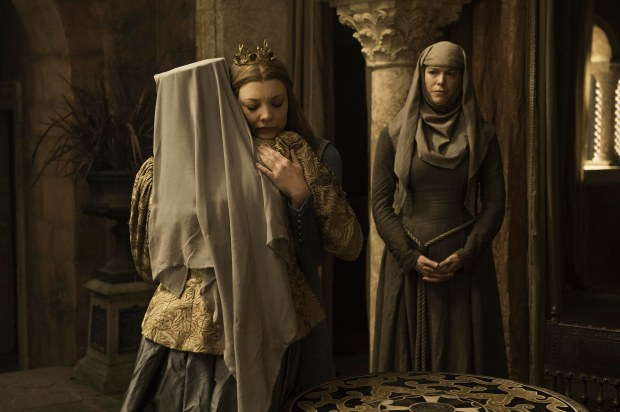 Diana Rigg as Olenna Tyrell, Natalie Dormer as Margaery Tyrell and Hannah Waddingham as Septa Unella. Credit: Helen Sloan/HBO