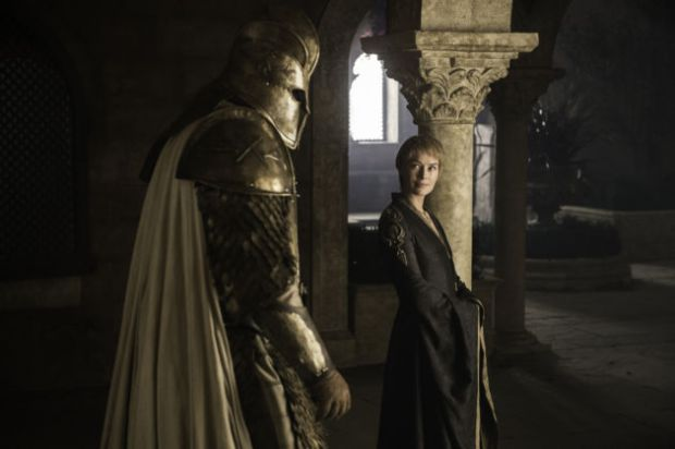 Hafþór Júlíus Björnsson as The Mountain and Lena Headey as Cersei Lannister Credit: Helen Sloan/HBO