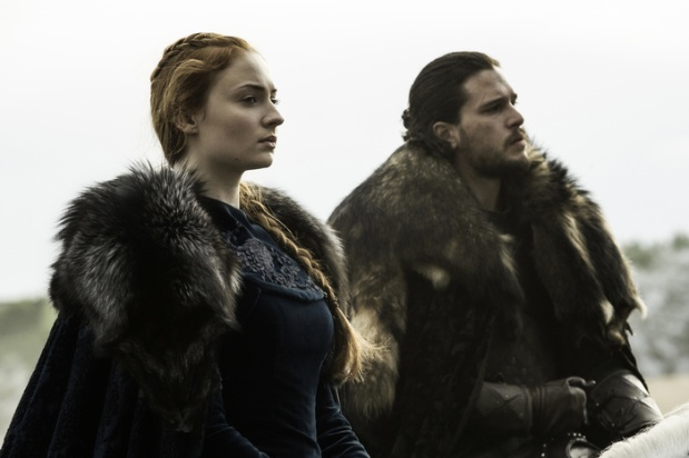 Sophie Turner as Sansa Stark and Kit Harington as Jon Snow. Credit: Helen Sloan/HBO