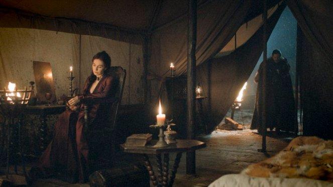 Carice van Houten as Melisandre and Kit Harington as Jon Snow