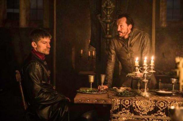 Jerome Flynn as Bronn and Nikolaj Coster-Waldau as Jaime Lannister. Credit: Helen Sloan/HBO