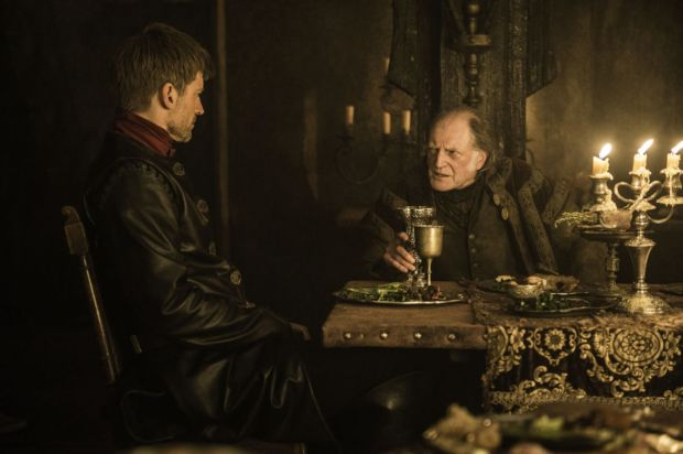 Nikolaj Coster-Waldau as Jaime Lannister and David Bradley as Walder Frey. Credit: Helen Sloan/HBO