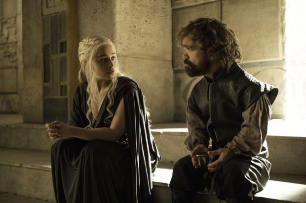 Emilia Clarke as Daenerys Targaryen and Peter Dinklage as Tyrion Lannister. Credit: Helen Sloan/HBO