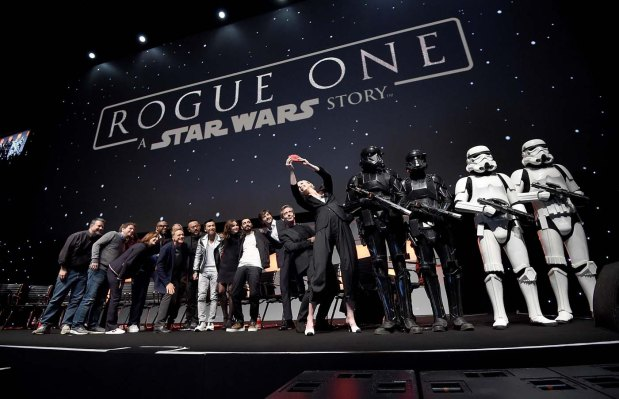 LONDON, ENGLAND - JULY 15: (L-R) Forest Whitaker, Mads Mikkelsen, Alan Tudyk, Wen Jiang, Donnie Yen, Felicity Jones, Riz Ahmed, Diego Luna, Ben Mendelsohn and Gwendoline Christie take a selfie on stage during the Rogue One Panel at the Star Wars Celebration 2016 at ExCel on July 15, 2016 in London, England. (Photo by Ben A. Pruchnie/Getty Images for Walt Disney Studios) *** Local Caption *** Forest Whitaker; Mads Mikkelsen; Alan Tudyk; Wen Jiang; Donnie Yen; Felicity Jones; Riz Ahmed; Diego Luna; Ben Mendelsohn; Gwendoline Christie