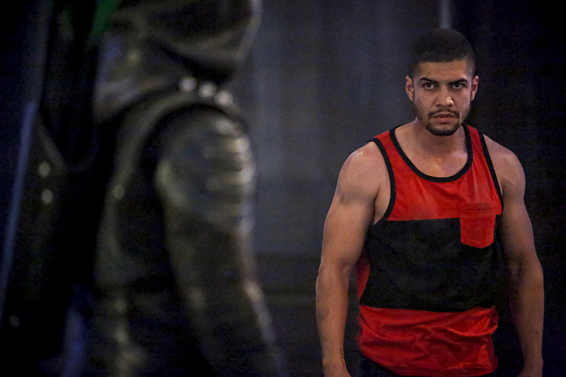 "Arrow -- ""The Recruits"" -- Image AR502a_0137b.jpg -- Pictured (L-R):  Stephen Amell as Green Arrow and Rick Gonzales as Rene Ramirez/Wild Dog -- Photo: Bettina Strauss/The CW -- © 2016 The CW Network, LLC. All Rights Reserved."