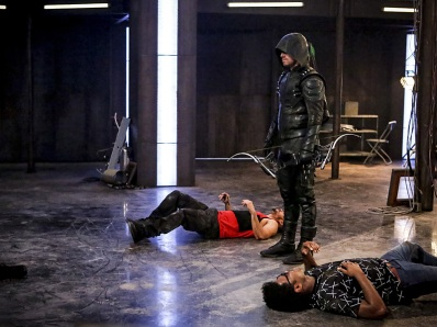 """Arrow -- """"The Recruits"""" -- Image AR502a_0162b.jpg -- Pictured (L-R): Rick Gonzales as Rene Ramirez/Wild Dog and Stephen Amell as Green Arrow and Echo Kellum as Curtis Holt -- Photo: Bettina Strauss/The CW -- © 2016 The CW Network, LLC. All Rights Reserved."""
