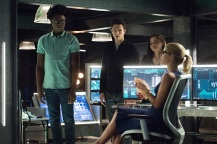 "Arrow -- ""Human Target"" -- Image AR505a_0083.jpg -- Pictured (L-R): Echo Kellum as Curtis Holt, Joe Dinicol as Rory Regan/Ragman, Madison McLaughlin as Evelyn Sharp/Artemis, and Emily Bett Rickards as Felicity Smoak -- Photo: Dean Buscher/The CW -- © 2016 The CW Network, LLC. All Rights Reserved."