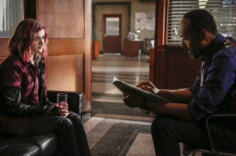 "The Flash -- ""Magenta"" -- Image: FLA303b_0091b.jpg -- Pictured (L-R): Joey King as Frankie Kane and Jesse L. Martin as Detective Joe West -- Photo: Bettina Strauss/The CW -- © 2016 The CW Network, LLC. All rights reserved."