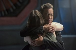"The Flash -- ""Magenta"" -- Image: FLA303a_0382b.jpg -- Pictured: Violett Beane as Jesse Quick and Tom Cavanagh as Harrison Wells -- Photo: Dean Buscher/The CW -- © 2016 The CW Network, LLC. All rights reserved."