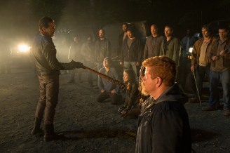Jeffrey Dean Morgan as Negan, Michael Cudlitz as Sgt. Abraham Ford, Danai Gurira as Michonne, Norman Reedus as Daryl Dixon, Christian Serratos as Rosita Espinosa, Steven Yeun as Glenn Rhee - The Walking Dead _ Season 7, Episode 1 - Photo Credit: Gene Page/AMC