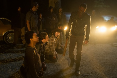 Jeffrey Dean Morgan as Negan, Sonequa Martin-Green as Sasha Williams, Ross Marquand as Aaron, Chandler Riggs as Carl Grimes, Josh McDermitt as Dr. Eugene Porter - The Walking Dead _ Season 7, Episode 1 - Photo Credit: Gene Page/AMC
