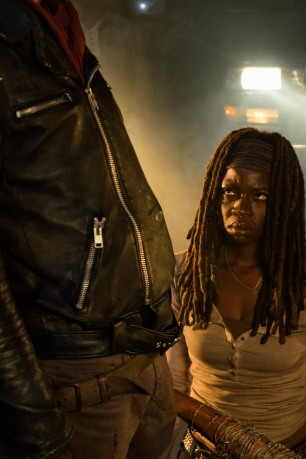 Danai Gurira as Michonne, Jeffrey Dean Morgan as Negan - The Walking Dead _ Season 7, Episode 1 - Photo Credit: Gene Page/AMC