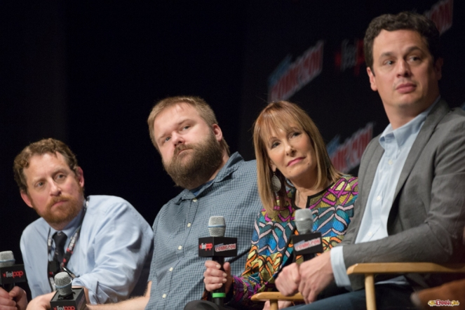 Pictured: Scott M. Gimple, Robert Kirkman, Gale Anne Hurd and David Alpert © 2016 GiGi Carrascosa/We Geek Girls. All rights reserved.