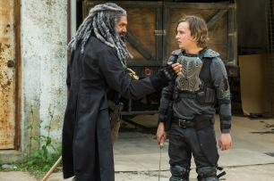 Khary Payton as Ezekiel, Logan Miller as Benjamin- The Walking Dead _ Season 7, Episode 2 - Photo Credit: Gene Page/AMC