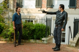 Jeffrey Dean Morgan as Negan, Andrew Lincoln as Rick Grimes - The Walking Dead _ Season 7, Episode 4 - Photo Credit: Gene Page/AMC