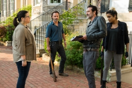 Andrew Lincoln as Rick Grimes, Jeffrey Dean Morgan as Negan, Ann Mahoney as Olivia, Elizabeth Ludlow as Arat - The Walking Dead _ Season 7, Episode 4 - Photo Credit: Gene Page/AMC