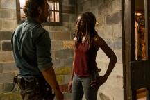 Andrew Lincoln as Rick Grimes, Danai Gurira as Michonne- The Walking Dead _ Season 7, Episode 8 - Photo Credit: Gene Page/AMC