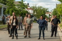 Alanna Masterson as Tara Chambler, Christian Serratos as Rosita Espinosa, Seth Gilliam as Father Gabriel Stokes, Jason Douglas as Tobin, Jordan Woods-Robinson as Eric - The Walking Dead _ Season 7, Episode 8 - Photo Credit: Gene Page/AMC