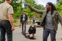 Jeffrey Dean Morgan as Negan, Christian Serratos as Rosita Espinosa; group- The Walking Dead _ Season 7, Episode 8 - Photo Credit: Gene Page/AMC